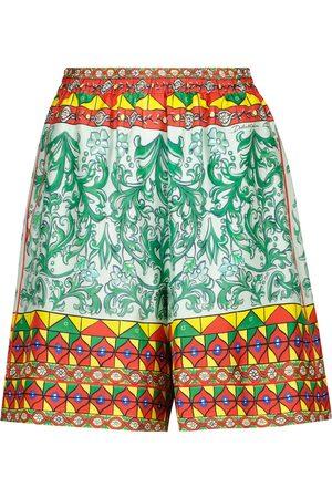 Dolce & Gabbana Printed silk faille shorts
