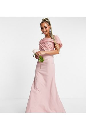 Missguided – Brudtärna – Puderrosa bandeauklänning med organzadetaljer-Pink