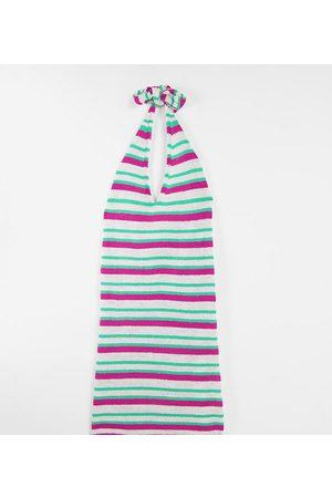ASOS ASOS DESIGN Maternity – Stickad miniklänning med halterneck och flerfärgat, randigt mönster-Flera