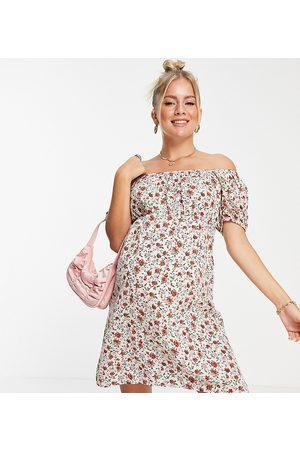 Mama Licious Mamalicious Maternity – Vit, blommig miniklänning i milkmaid-modell-Flera
