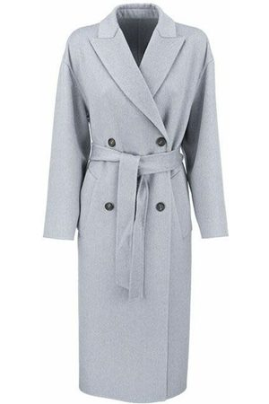BRUNELLO CUCINELLI Handmade coat in cashmere double cloth with belt and monili