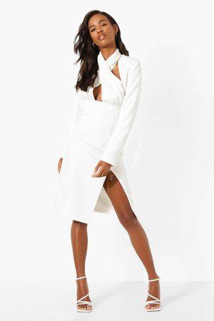Boohoo Wrap Halter Neck Midi Dress, White