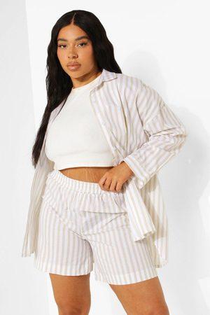 boohoo Plus Oversized Striped Shirt And Shorts Set