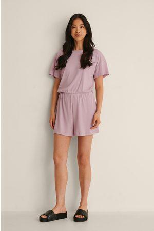 NA-KD Återvunnen Playsuit-Pyjamas I Mjuk Ribbstickning