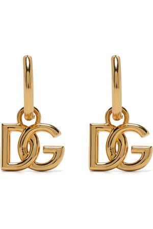 Dolce & Gabbana Man Örhängen - Logo-plaque hoop earrings