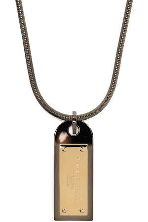 Dolce & Gabbana Man Halsband - Logo-plaque drop necklace