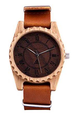 SmartWoods Cosmo armbandsur, herrklocka, damklocka, klocka, unisexklocka för kvinnor och män, ekologisk produkt av naturträ med element av sten eller synbetong, läderarmband.