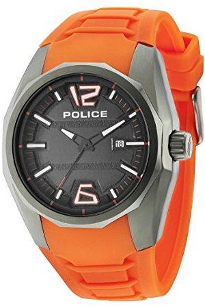 Police Herrarmbandsur 47,5 mm armband silikon marin hus rostfritt stål batteri analog 14763JSU02