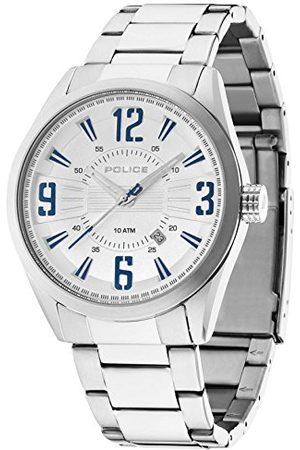 Police Memphis kvartsklocka för män med silverurtavla analog display och rostfritt stål armband 13893JS/04MA