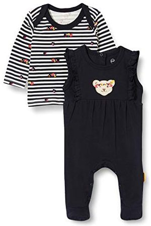 Steiff Baby-flicka med söt teddycarrypplikation set strampler T-shirt långarm