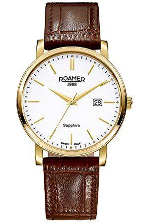 Roamer Man Klockor - Herr kvartsklocka med urtavla analog display och svart läderrem 709856 41 25 07 rem White/Brown