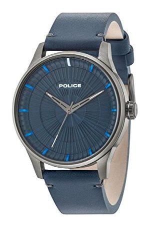 Police Polis män datum klassisk kvartsklocka med läderarmband 15038JSU/03