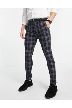 ASOS – Mörkgrå oxfordrutiga kostymbyxor i extra skinny passform