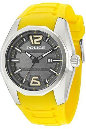 Police Mäns armbandsur 47,5 mm armband silikon gult hölje rostfritt stål batteri urtavla grå 14763JS13
