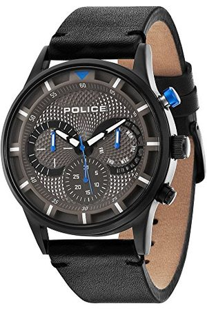Police Polis herr kvartsklocka med grå urtavla kronograf display och läderrem 14383JSB/61