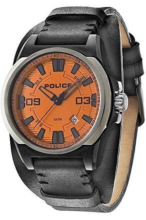Police Polis herr kvartsklocka med urtavla analog display och läderrem 14200JSBU/17