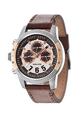 Police Polis Kicker kvartsklocka för män med rosguld urtavla kronograf display och brunt läderarmband 14381JSUR/04