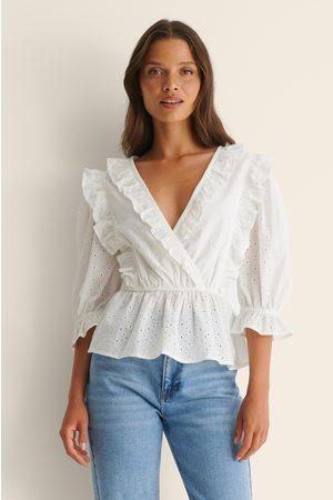 NA-KD Kvinna Kortärmade skjortor - Kortärmad Anglaise Topp