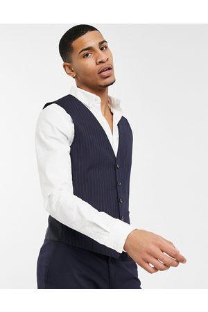 Burton – Marinblå kritstrecksrandig kostymväst