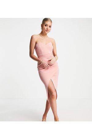 ASOS ASOS DESIGN Tall – midiklänning med bandeau-ringning och figurnära omlottdesign-Pink