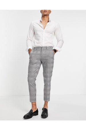SELECTED – Vita rutiga kostymbyxor med smal passform- /a