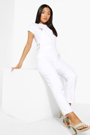 Boohoo Kvinna Jumpsuits - Petite - Dungarees I Denim, White