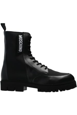 Moschino Leather boots with logo