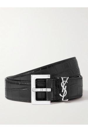 Saint Laurent Man Bälten - 3cm Croc-Effect Leather Belt