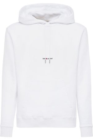 Saint Laurent Man Sweatshirts - Logo Detail Hooded Jersey Sweatshirt