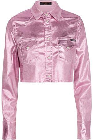 Dolce & Gabbana Cropped laminated shirt jacket