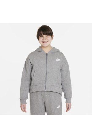 Nike Huvtröja med hel dragkedja Sportswear Club Fleece för ungdom (tjejer) (utökade storlekar)