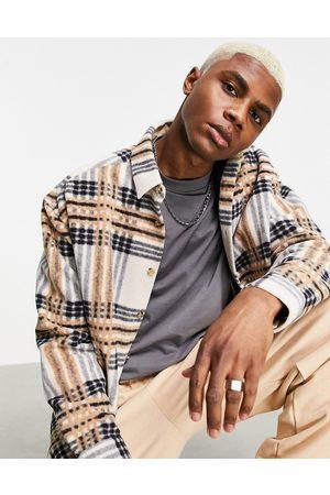 ASOS – Ljusbrun, rutig fleeceskjorta i 90-talsstil med oversize passform