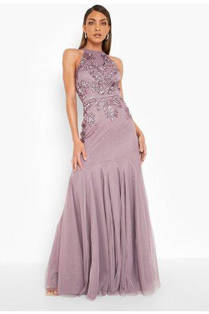 Boohoo Långklänning Med Halterneck Och Smyckestenar, Purple