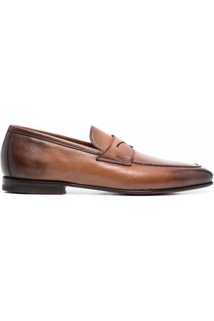 santoni Man Loafers - Penny leather loafers