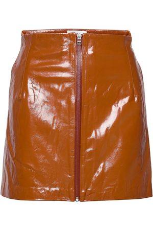 REMAIN Birger Christensen Katy Skirt Leather Kort Kjol Orange
