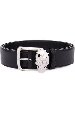 Philipp Plein Skull-appliqué leather belt