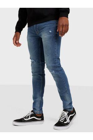 Only & Sons Onswarp Life Skinny Blue Damage Pk Jeans Blue Denim