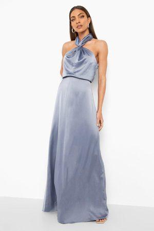 Boohoo Kvinna Halterneckklänningar - Långklänning I Satin Med Halterneck
