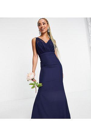 Missguided – Brudtärna – Marinblå bandeauklänning med organzadetaljer