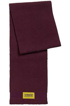 HUGO BOSS Logo-patch scarf in cotton and wool
