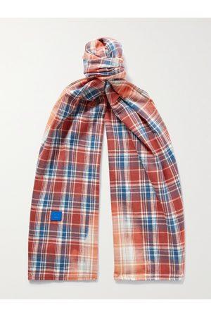Acne Studios Man Sjalar - Logo-Appliquéd Checked Cotton-Flannel Scarf