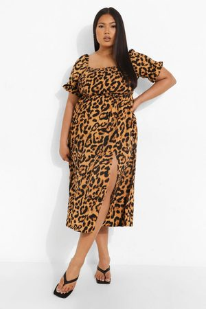 Boohoo Kvinna Maxiklänningar - Plus - Leopardmönstrad Maxiklänning Med Fyrkantig Halsringning Och Smock, Multi
