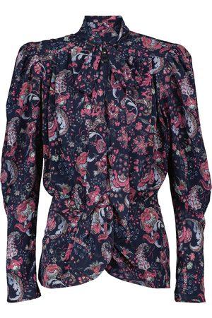 Isabel Marant Batozia floral stretch-silk blouse