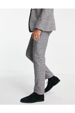 ASOS – Glencheckrutiga kostymbyxor i ullblandat material med smal passform- /a