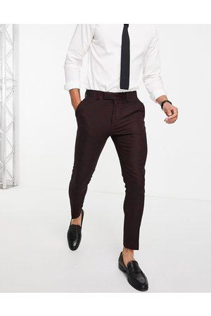 ASOS Wedding – Vinröda kostymbyxor med extra smal passform i twill av ylletyg