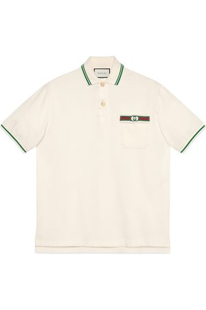 Gucci Cotton polo with Web and Interlocking G