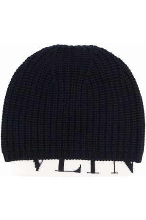 VALENTINO Man Mössor - Ribbed knit logo-hem beanie