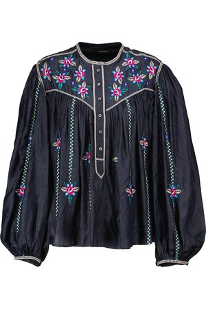 Isabel Marant Caitlyn floral-embroidered silk blouse