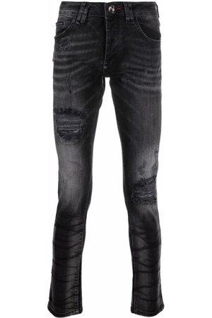 Philipp Plein Man Skinny - Stentvättade jeans med slitning
