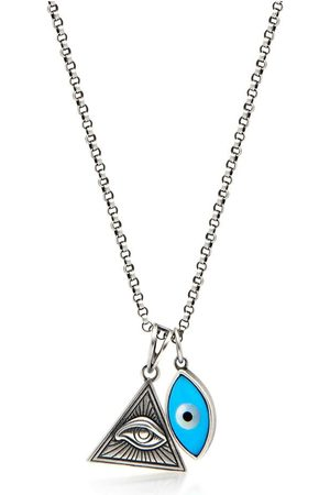Nialaya Man Halsband - Men's Silver Necklace with Turquoise Evil Eye and Eye of Ra Pendant
